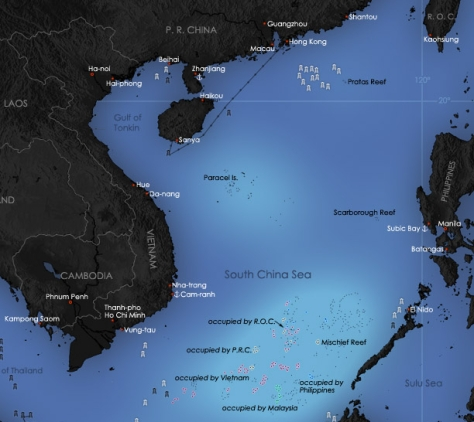 The South China Sea bordered by China, Vietnam and the Philippines. Photo courtesy of Yeu Ninje thru Wikipedia Commons.