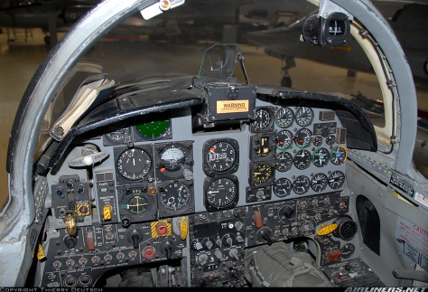A cockpit of an F-5A aircraft. Photo courtesy of Thierry Deutsch thru Airliners.net
