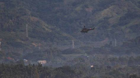A W-3 Sokol with the mountains of Zamboanga in the backdrop. Photo courtesy of ABS-CBN