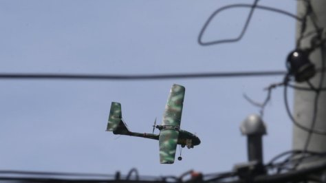 "A Skywalker UAV used by the AFP during the ""crisis"". Photo courtesy of the Associated Press"