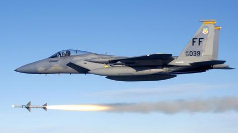 USAF F-15C Eagle Firing a Sparrow Missile. Photo courtesy of Wikipedia Commons.