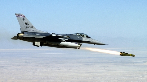 The FA-50's bigger sibling the F-16C firing a AGM-65D Maverick missile. Photo courtesy of Wikipedia Commons.
