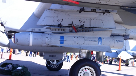 Side view of an inert AGM-65D Maverick missile used for practice. Photo courtesy of Arturo Yee thru Wikipedia Commons.