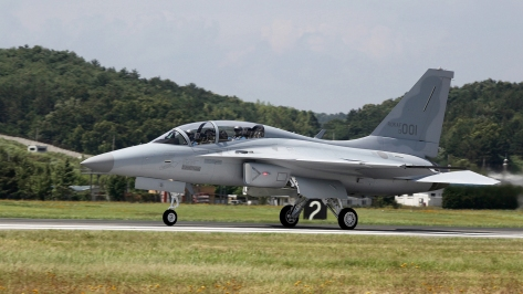 An FA-50 Golden Eagle taxiing on the runway. Photo courtesy of Korea Aerospace Industries.