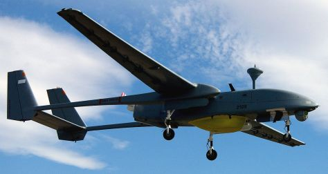 An IAI Heron UAV with Surface Search Radar and a FLIR Ball Turret. Photo courtesy of Wikipedia.