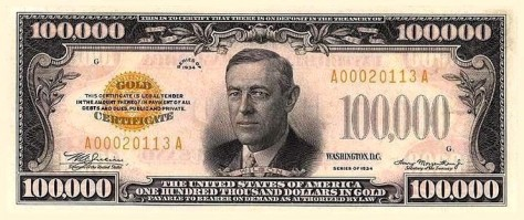 USD100,000 Bill. Photo courtesy of Wikipedia