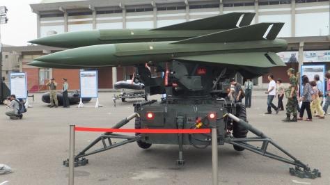 A MIM-23 Hawk Missile on Triple Launchers. Photo courtesy of Xuan Fumio Nanjo thru Wikipedia Commons.