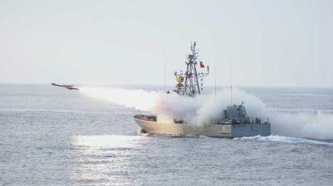 An MM 38 Exocet missile being launched from an Uribe-class Corvette. Photo courtesy of the Fotosmilitares.org website
