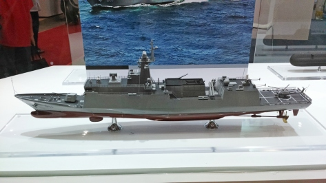 A scale model of an HDF-3000 Frigate shown at the ADAS 2014 Exhibit. Photo courtesy of Roy Kabanlit