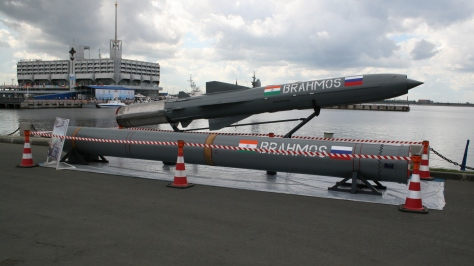 The Brahmos missile and its launch container. Photo courtesy of Wikipedia Commons.