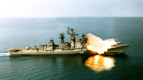 The INS Rajput firing the Brahmos Missile. Photo courtesy of the Indian Navy thru Wikipedia Commons.