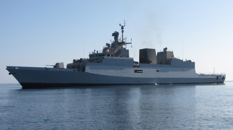 Another view of the INS Kamorta of the Indian Navy, photo courtesy of the Indian Navy thru Wikipedia Commons