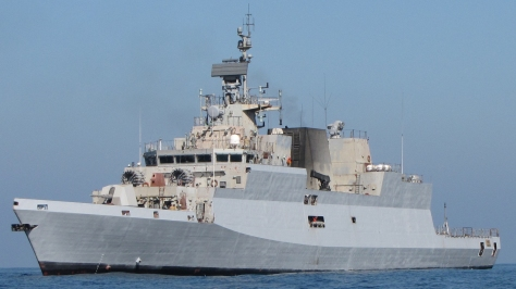 The INS Kamorta of the Indian Navy, photo courtesy of the Indian Navy thru Wikipedia Commons