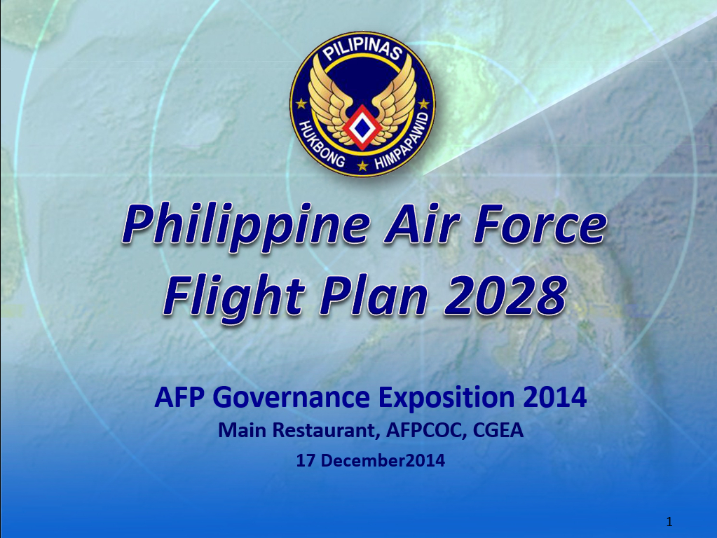 """The title page of the Philippine Air Force's """"Flight Plan 2018"""" Presentation"""