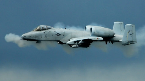Bbbrrrrttttt. An A-10 firing its famous GAU-8 Avenger 30 mm cannon. Photo courtesy of Wikimedia Commons.