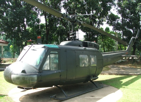 A UH-1 Huey Helicopter of the Philippine Air Force at the AFP Museum in Quezon City. Photo courtesy of Wikimedia Commons.