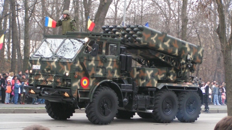 A camouflaged LAROM Rocket launcher, a Romanian made version of the LAR-160. The LAR-160 in turn is a version of the Lynx Missile System. Photo courtesy of DoloresRKT thru Wikimedia Commons.