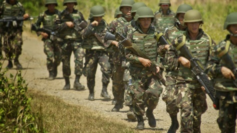 The few Philippine Army Soldiers that were lucky enough to have been issued Body Armor, taken during Balikatan 2012. Photo courtesy of the US DVIDS website.