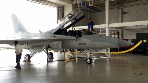 An FA-50PH with Tail Number 002 currently undergoing qualifications prior to its delivery to the Philippines.