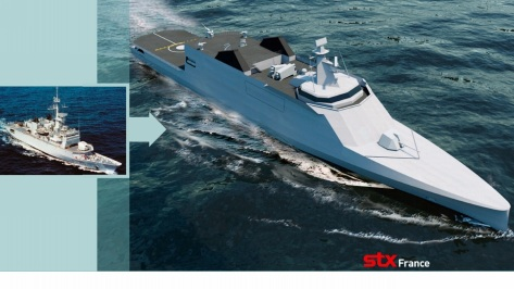 Front view of the New Generation Floreal Frigate (NG2F) compared with the older Floreal vessel. Photo courtesy of the STX brochure.