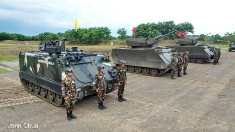 The leftmost M113 of the Philippine Army is equipped with the Overhead Remote Control Weapons Station (ORCWS). Photo courtesy of John K. Chua.