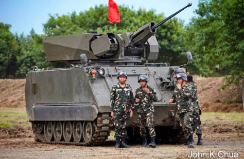 A UT30 Mk2 Remote Weapons Station (RWS) mounted on an M113 of the Philippine Army. Photo courtesy of John K. Chua.