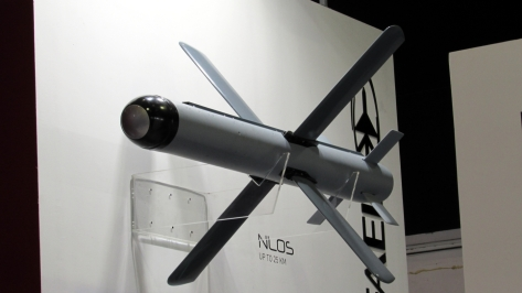 A full scale mock up of a Spike NLOS missile. Photo courtesy of Wikimedia Commons
