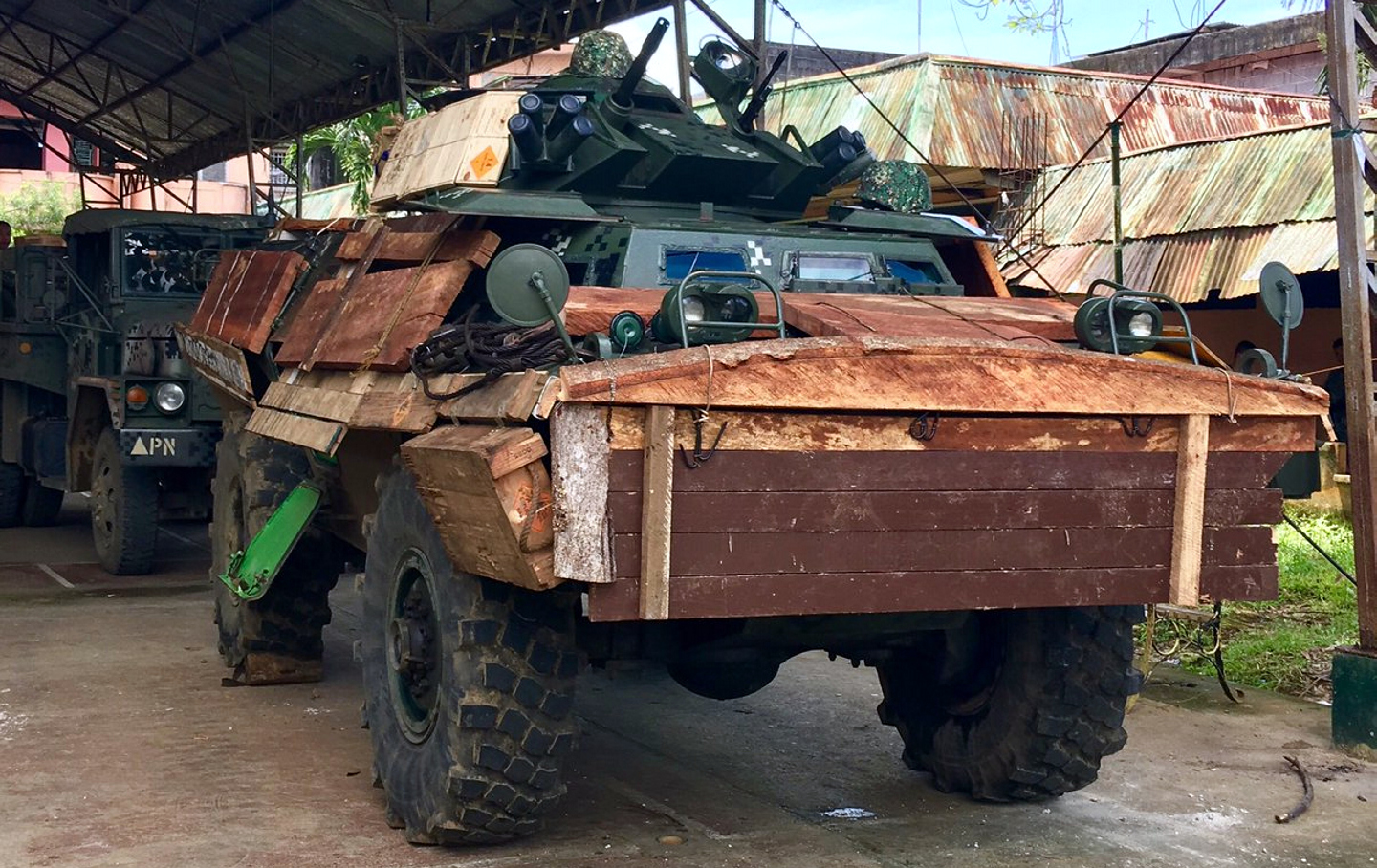 A v 150 fitted with wooden armor photo courtesy of raffy tima s official twitter account